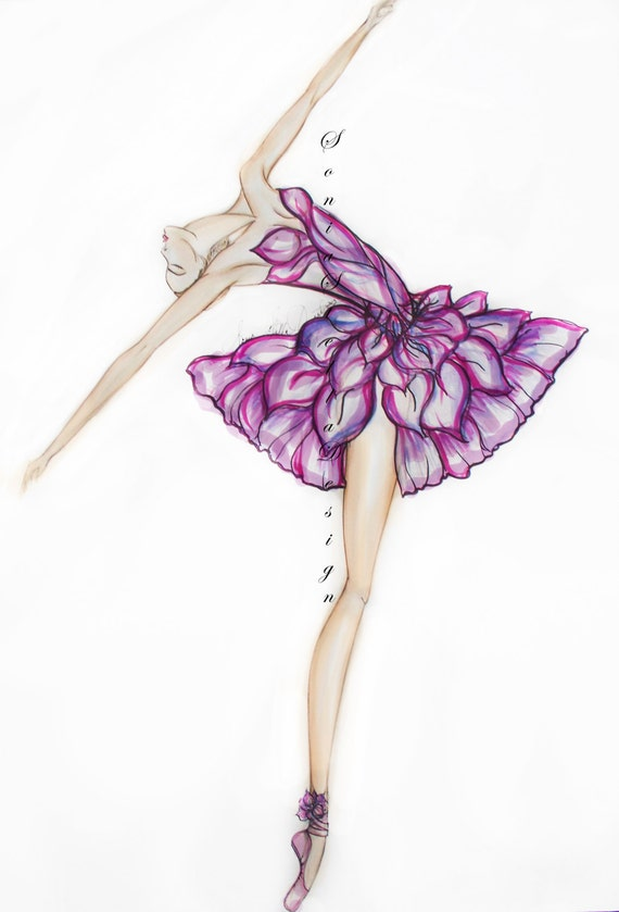 Ballerina Painting Fashion Illustration by SONIASTELLADESIGN