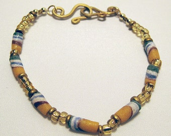 Multi-Colored Bracelet with Ceramic & Gold Beads