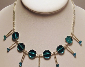 Aqua & Clear 13 Inch Choker with Glass Bead Accents