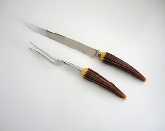 Carving Set Bakelight Horn Carving Set in Horn Knife and Fork Set Thanksgiving Turkey Carving