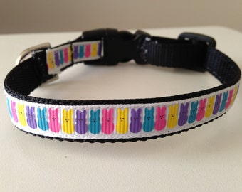 1/2 inch Small Colorful Bunny Rabbits Easter Holiday Dog Collar