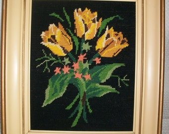 Yellow Tulips French Embroidery Vintage Frame Gustavian Cream Gold 1950/60s
