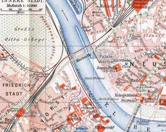 Dresden Germany LARGE Antique Map 1906 Vintage Edwardian Steel Engraving Cartography To Frame