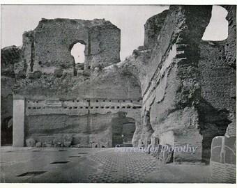 Roman Baths Caracalla  Rome Italy 1890 Vintage Victorian Era Ancient Architecture Rotogravure Illustration to Frame