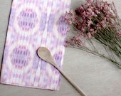 Geometric Tie-Dye Pattern Tea Towel in African Violet Purple, Bright Dish Towel, Cotton-Linen Table Setting