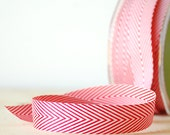 "Red and White Ribbon 3/4"" Wide Chevron Twill Tape .75"" Wide 5 Yards"