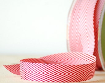 """Red and White Ribbon 3/4"""" Wide Chevron Twill Tape .75"""" Wide 5 Yards Ribbon Gift Wrap"""
