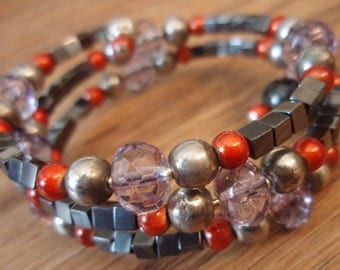 Skipping Samhain Wraparound Bracelet - Hematite, Glass, Crystal Beads