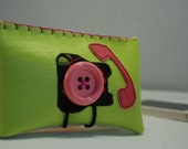 iPhone case-Pretty Old Fashioned Telephone vinyl pocket for your iPhone or Smart Phone in Lime Green