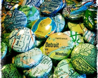 50 Custom Vintage Map Buttons - Great Unique Wedding/Party Favors