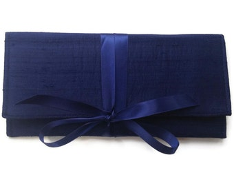 Navy Clutch in silk // slim envelope clutch with bow