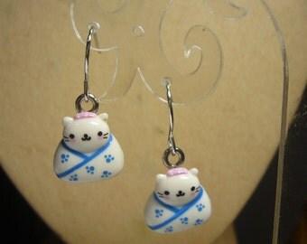SALE Kimono Kitty Cat earrings handmade jewelry feline id1300981
