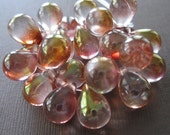 Large Golden Red Copper Glass Tear Drop Bubble Glass Czech Beads