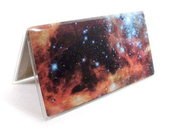 Checkbook Cover - Burning Nebula - outer space galaxy print check book holder, astronomy - top tear or side tear checkbook case