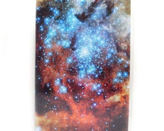 Passport cover - Outer Space - orange and blue nebula astronomy themed passport holder - galaxy and stars, unisex men's or women's