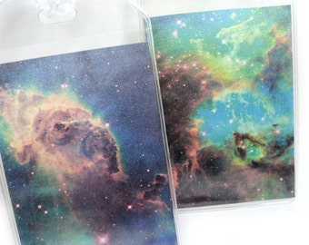 Luggage Tags - set of two - Nebula Pair - Astronomy themed outer space bag tags, galaxy and stars