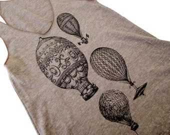 Women's Tank Top - Vintage Hot Air Balloons on a American Apparel Tri-Blend Tank -(Sizes S, M, L)
