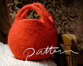 PATTERN - Knitting Pattern Download - Digital Download - Knit and Felt Berry Bag - Circle Clutch - Round Purse - Purse Pattern