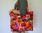 Vintage Fabric Retro Blossoms Floral Tote Bag Handmade