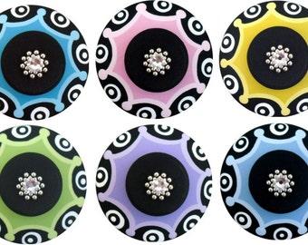 Multi Color Black Hand Painted Swarovski Crystal Jeweled Decorative Furniture Kids Nursery Baby Childrens Wood Art Unique Drawer Knobs