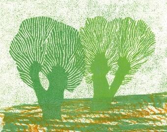 Linoleum Block Print - HOLLAND WILLOWS 11 - Landscape Art 6x6