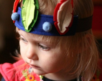 Feather Crown - Play Crown - Birthday Crown - Dress up - Flower Girl - Felted Wool Headband - Pan