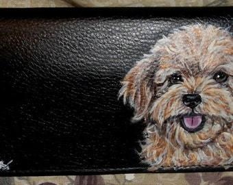 Teddy Bear Dog Custom Hand Painted Leather Checkbook Cover Checokbook Holder