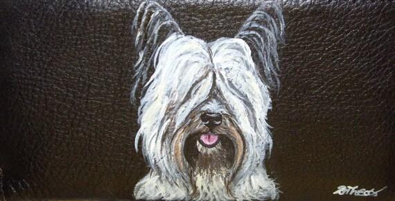 Skye Terrier Dog Custom Painted Ladies Leather Wallet Vegan