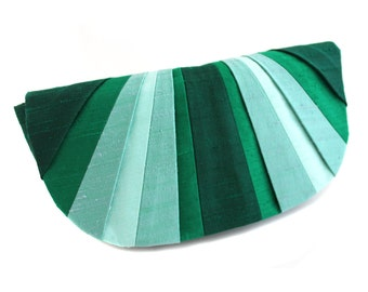 Emerald Pleated Silk Clutch Purse