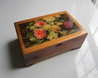 Vintage Roses and Bird Wood Decoupage Jewelry or Trinket Box