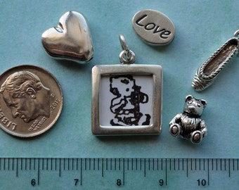Mixed Lot of Sterling Silver Charms..Bead Frame, Hearts, Terry Bears and more...