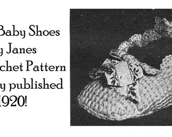1920 Baby Mary Jane Shoes Tricot Crochet Pattern Flapper Doll Tricot Tunisian DIY Baptism Shower Gift Reenactment
