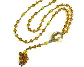 Steampunk SKULL Reliquary Necklace Art Deco Gold Fill Watch Case with Honeyed Topaz Rosary OSSUARY RELIC by Nouveau Motley