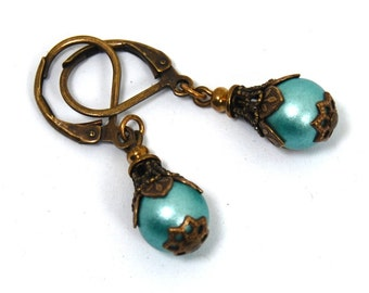 Exquisite Neo Victorian Drop Earrings with Turquoise Blue Czech Glass and Brass Filigree by Nouveau Motley