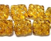Amber Groovy Nuggets Handmade Glass Lampwork Beads