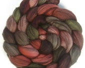Handpainted Heathered BFL Roving - 4 oz. PAPER ROSES - Spinning Fiber