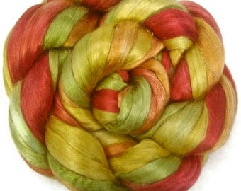 Handpainted Bombyx Silk Roving - 2 oz. FIELDS of FLOWERS - Spinning Fiber