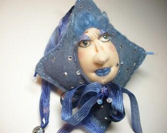 Fiber Art Doll, Fabric Doll Ornament, Birthstone Ornament, Rhinestone doll