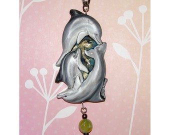 Three Dolphins Swimming in the Ocean Handmade  Pendant
