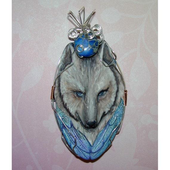 Stunning Wolf Head Handmade Clay Pendant