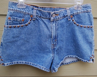 Vintage 80s 90s Levis Bronze Studded High Waisted Jean Shorts Size 11 Junior