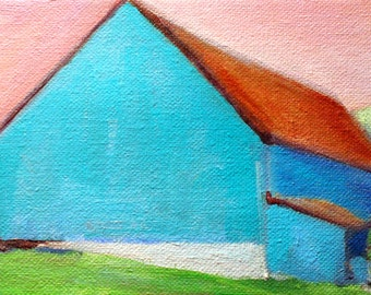Print of Original Oil Daily Painting Turquoise Blue Barn