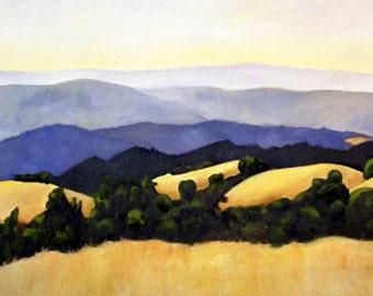 landscape oil painting print 11x17 California landscape rolling hills fine art large format