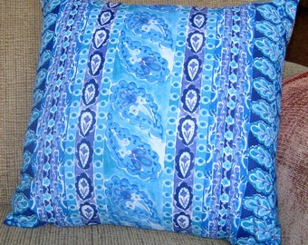 Pillow Cover, Blue Purple Flowers Paisley Medallions 16 inch
