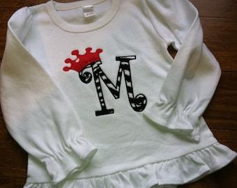 Custom boutique letter appliqué with crown shirt