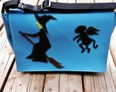 Wicked Witch and Flying Monkey Blue Vinyl Messenger Bag