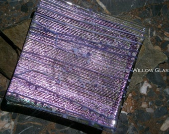Dichroic Glass Tray, Purple Dichroic Glass Dish , Home Decor, Willow Glass, OOAK