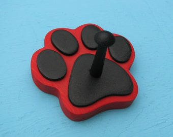 Dog Leash Holder RED - Wood Paw Print Peg Hook