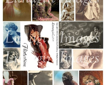 FLIRTATION digital collage sheet romantic vintage images Victorian Edwardian women ladies flappers risque flirty Fisher girls art DOWNLOAD