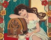 Morning Ritual Coffee & Radio Art Nouveau 11x14 Print Retro Goddess Art